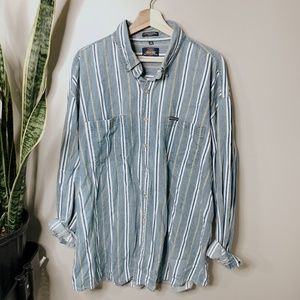 • DICKIES • striped denim button down shirt